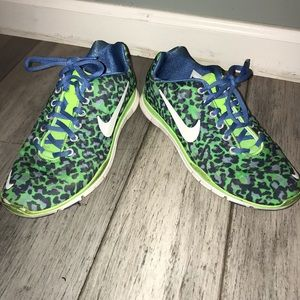 Nike Free 5.0 Animal Print Sneakers Blue and green
